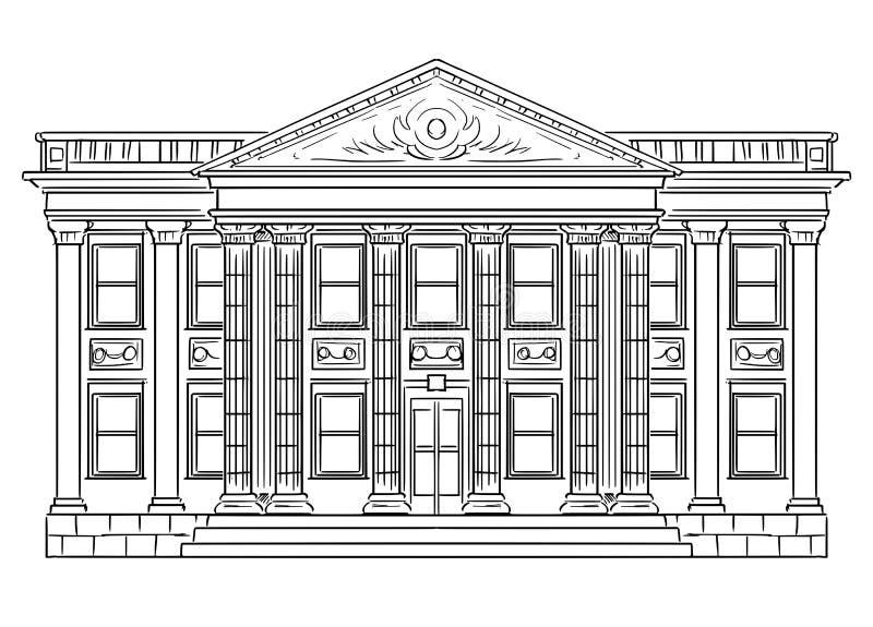 Disegno di vettore della costruzione classica della Banca come simbolo di investimento e di finanza illustrazione vettoriale