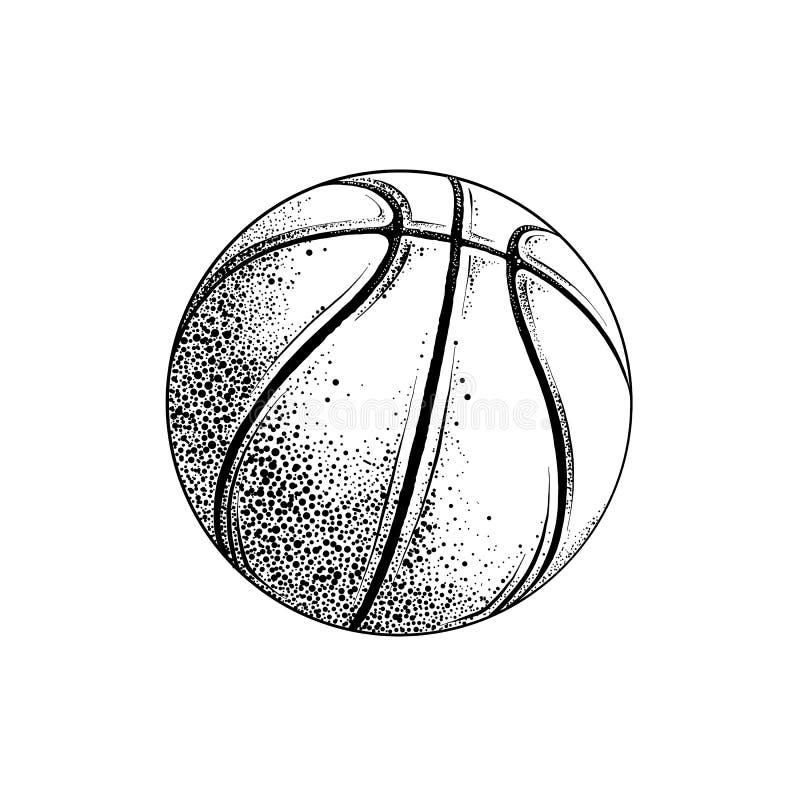 Disegno di vettore della palla di pallacanestro nel colore nero, isolato su fondo bianco Illustrazione grafica, disegno della man illustrazione vettoriale
