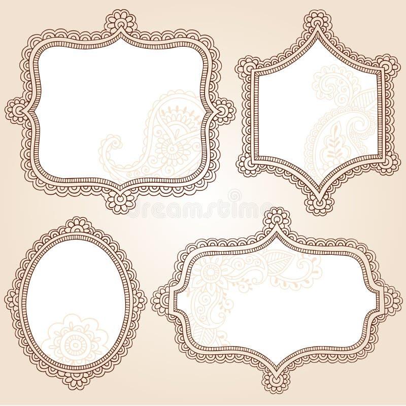 Disegno di vettore di Doodle dei blocchi per grafici del fiore del tatuaggio del hennè illustrazione di stock