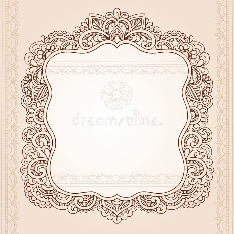 Disegno di vettore di Doodle del blocco per grafici del fiore del tatuaggio del hennè illustrazione vettoriale