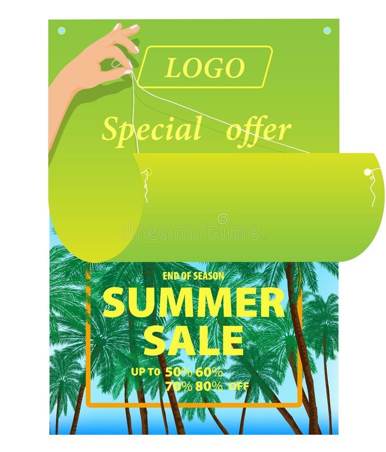 Disegno di vettore, immagine del manifesto di pubblicità luminoso su un fondo colorato tropicale illustrazione di stock