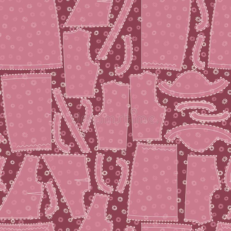 Disegno di vettoriale con motivi di cucito di carta su fondo di tessuto di floreale rosa per tessuti, scarponi e imbarcazioni royalty illustrazione gratis
