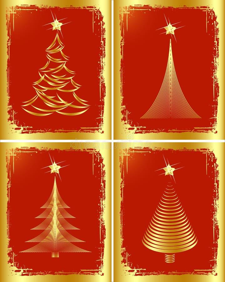 Disegno dorato dell'albero di Natale. illustrazione vettoriale