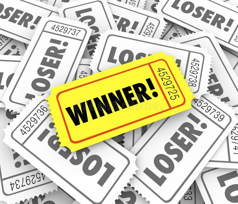 Disegno dorato di Lucky Odds Winning Lottery Jackpot del biglietto del vincitore illustrazione vettoriale