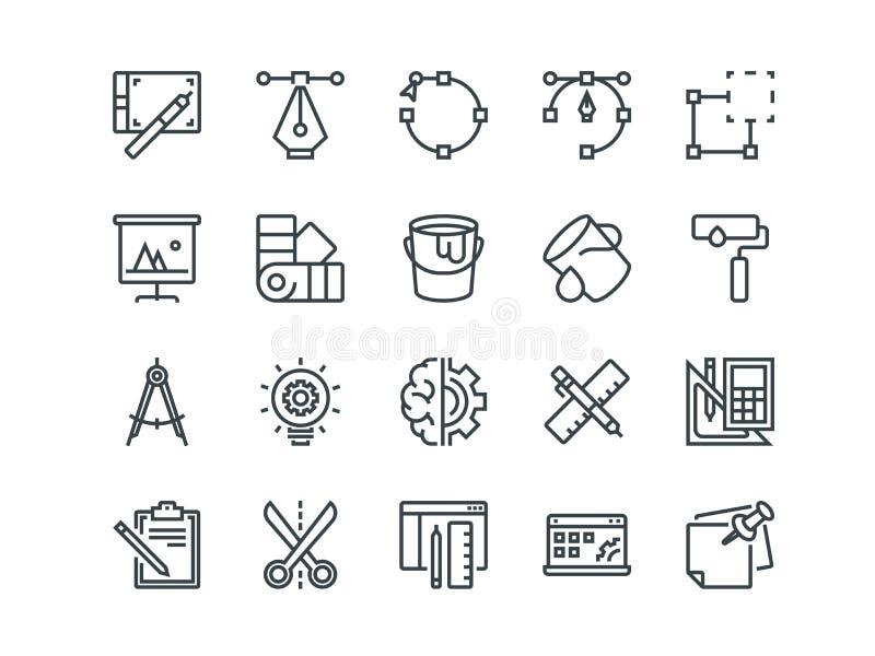 Disegno e sviluppo Insieme delle icone di vettore del profilo Include come 'brainstorming', il ritocco, la programmazione ed altr illustrazione vettoriale