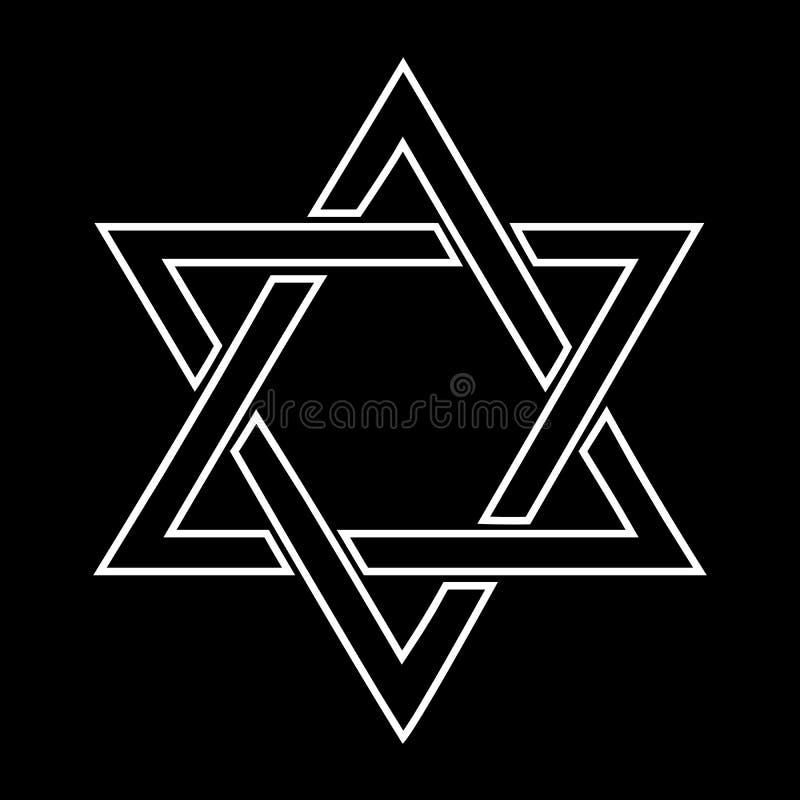 Disegno ebreo bianco della stella su priorità bassa nera illustrazione vettoriale