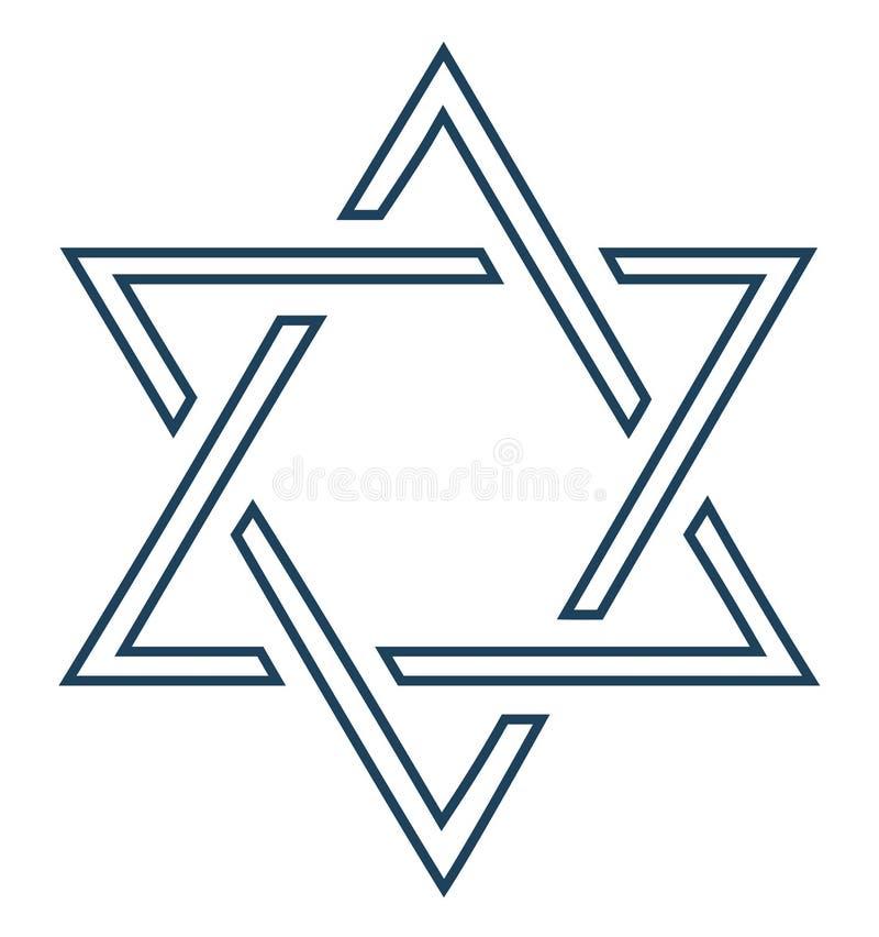 Disegno ebreo della stella su priorità bassa bianca - vettore illustrazione vettoriale