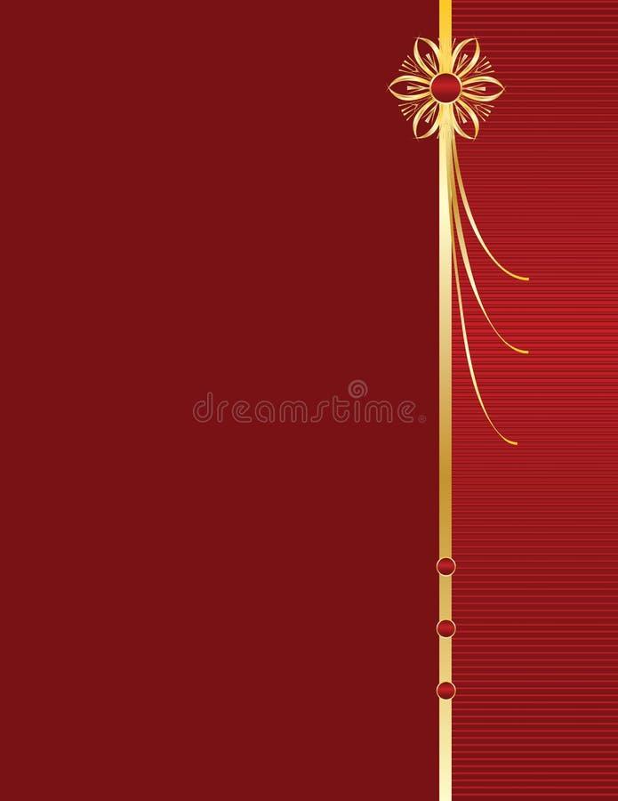 Disegno elegante dell'oro sul BAC rosso fotografia stock