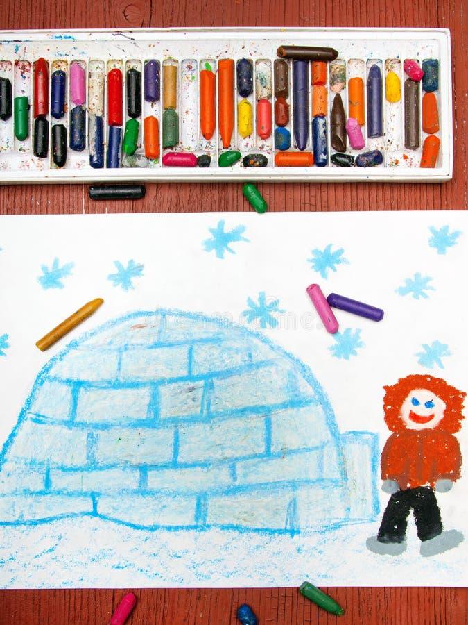 Disegno: Eschimese con il suo iglù illustrazione vettoriale