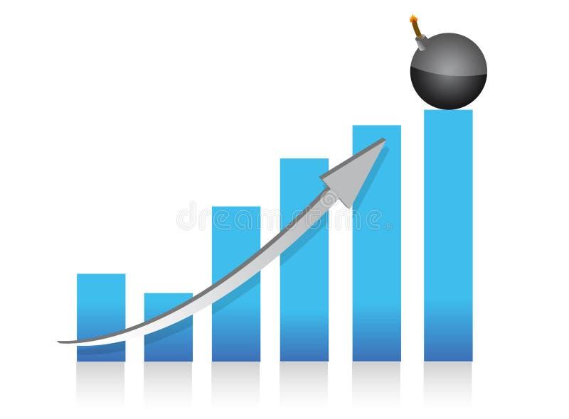 Disegno esplosivo dell'illustrazione del grafico di profitti illustrazione vettoriale