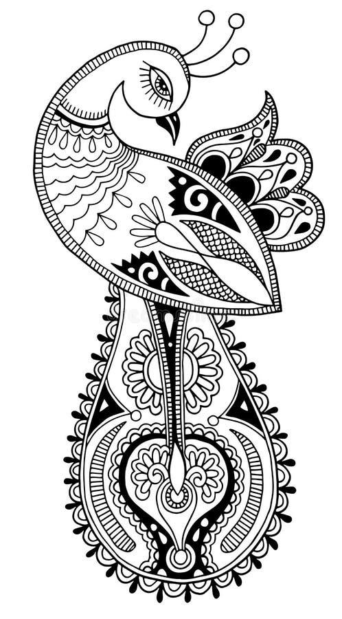 Disegno etnico decorativo del pavone in bianco e nero illustrazione vettoriale