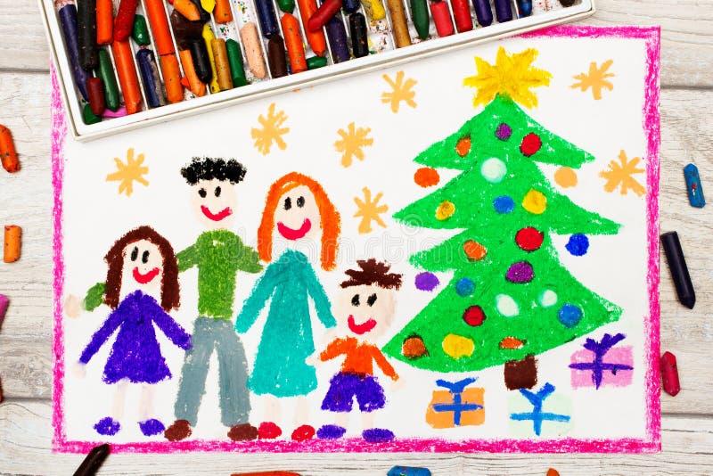 Disegno: Famiglia ed albero di Natale felici illustrazione vettoriale