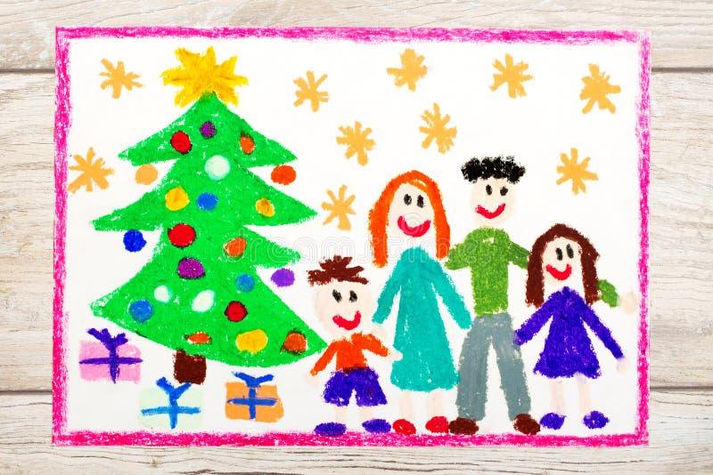 Disegno: Famiglia ed albero di Natale felici illustrazione di stock
