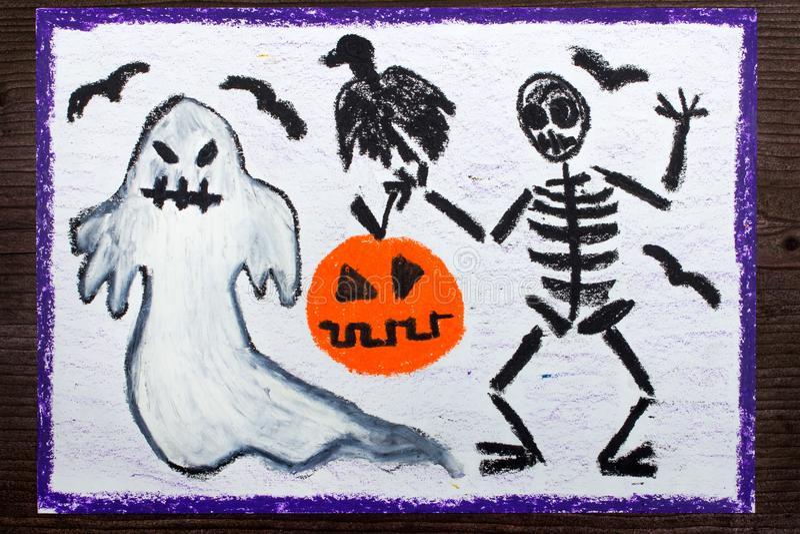 Disegno: Fantasma, scheletro, zucca e corvo cattivi immagini stock libere da diritti