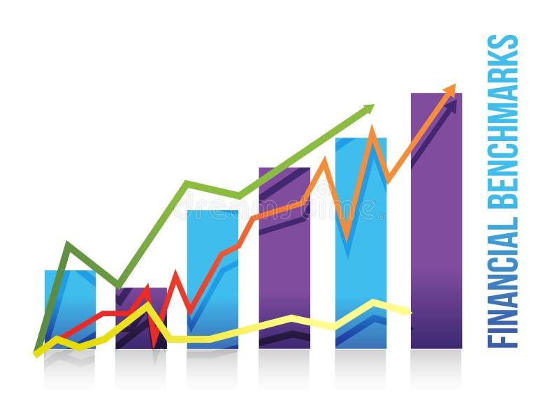 Disegno finanziario dell'illustrazione del diagramma dei segni di riferimento illustrazione vettoriale