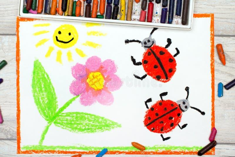 Disegno: fiore, sole e coccinelle sul fondo del Libro Bianco illustrazione vettoriale