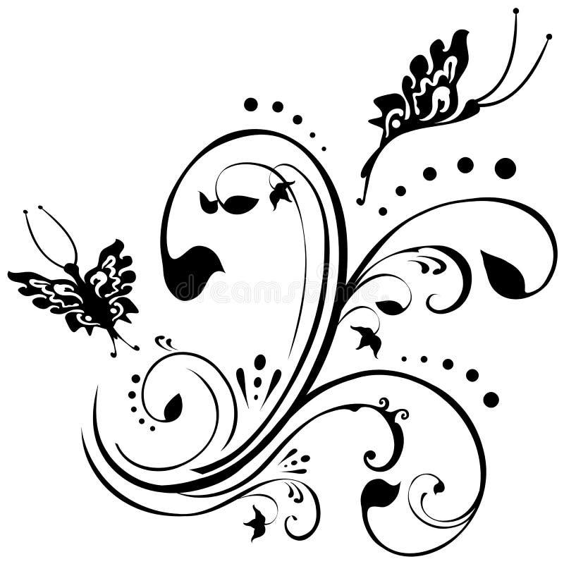 Disegno floreale astratto delle farfalle illustrazione di stock
