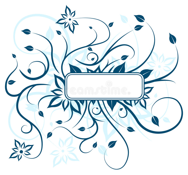 Disegno floreale blu illustrazione di stock