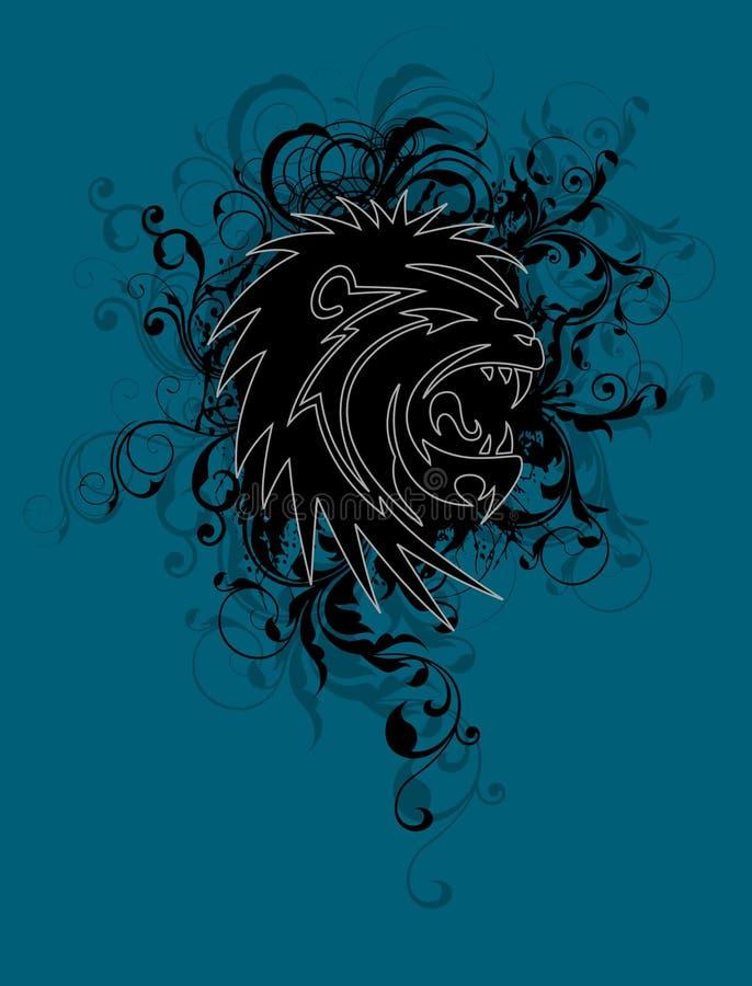 Disegno floreale del leone illustrazione vettoriale