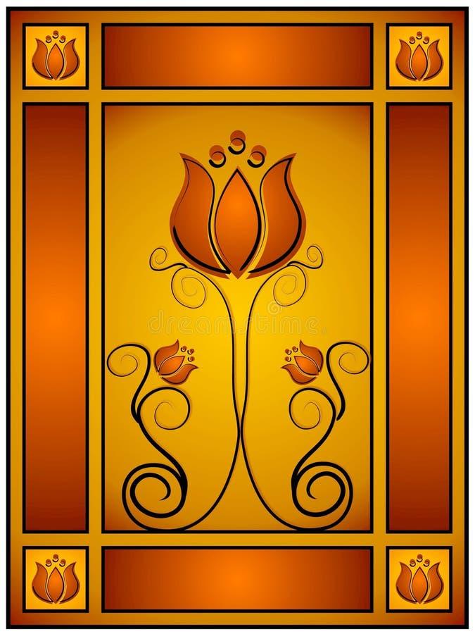 Disegno floreale dell'oro complicato royalty illustrazione gratis