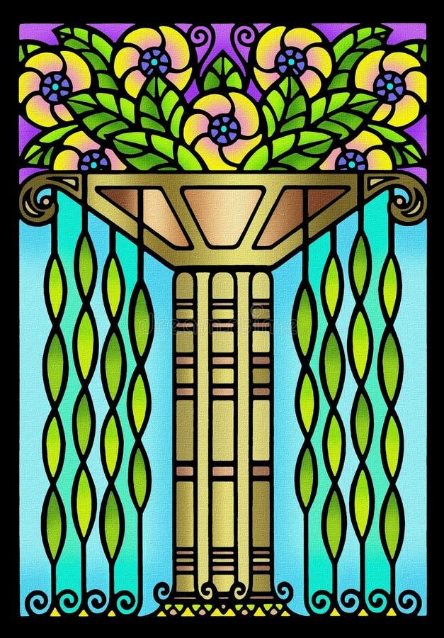 Disegno floreale di art deco dell'annata illustrazione di stock