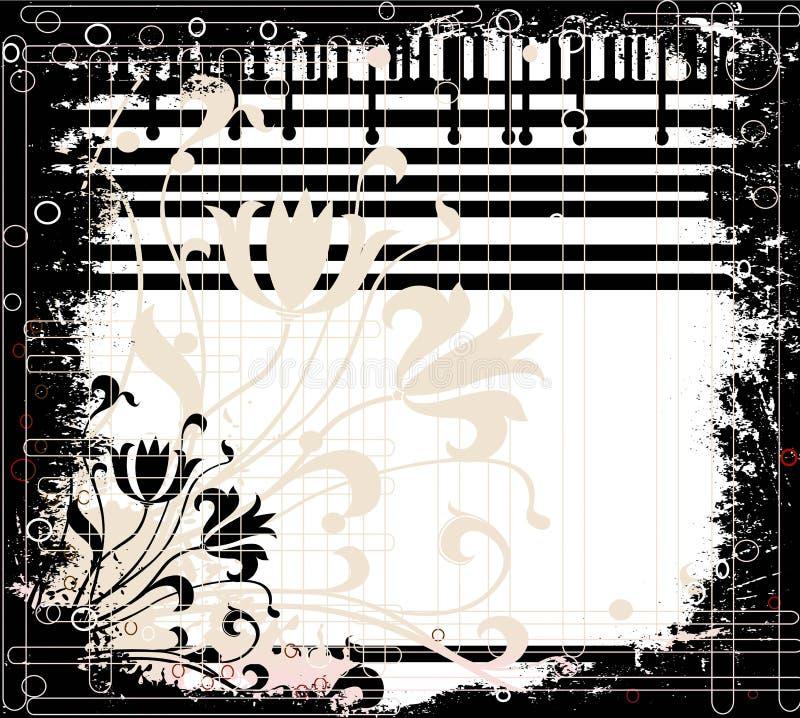 Disegno floreale di Grunge illustrazione di stock