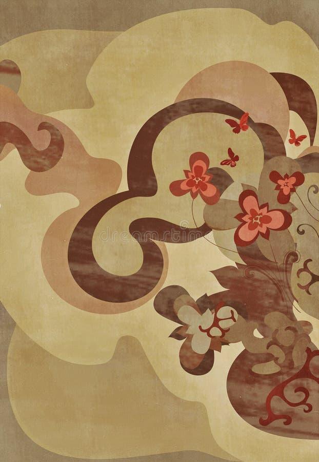 Disegno floreale terroso illustrazione vettoriale