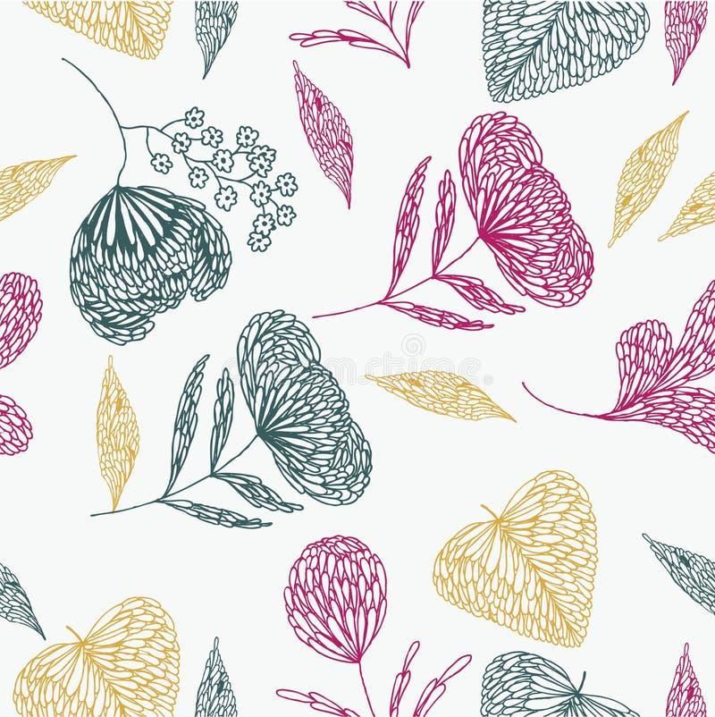 Disegno fragile del foglio e floreale illustrazione di stock