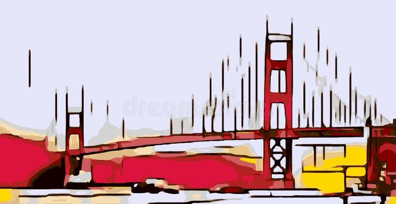 Disegno golden gate bridge, San Francisco, U.S.A. royalty illustrazione gratis