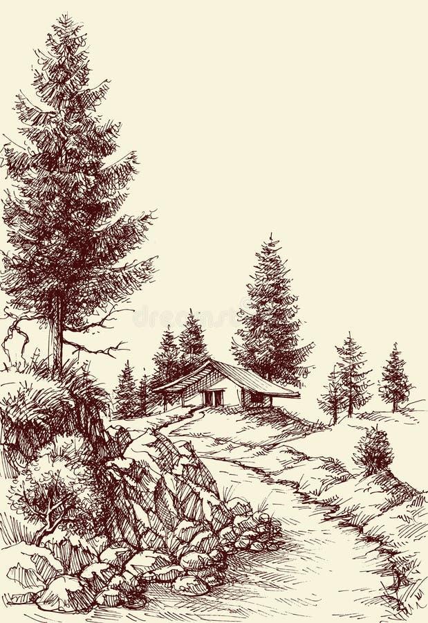 Disegno idilliaco della mano del paesaggio illustrazione di stock