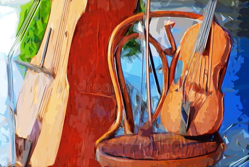 Disegno impressionista di stile degli strumenti musicali del violoncello e del violino illustrazione vettoriale
