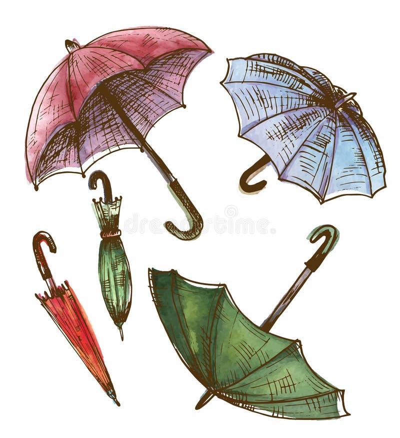 Disegno, insieme dell'acquerello degli ombrelli Ombrelli da una pioggia, fem illustrazione di stock