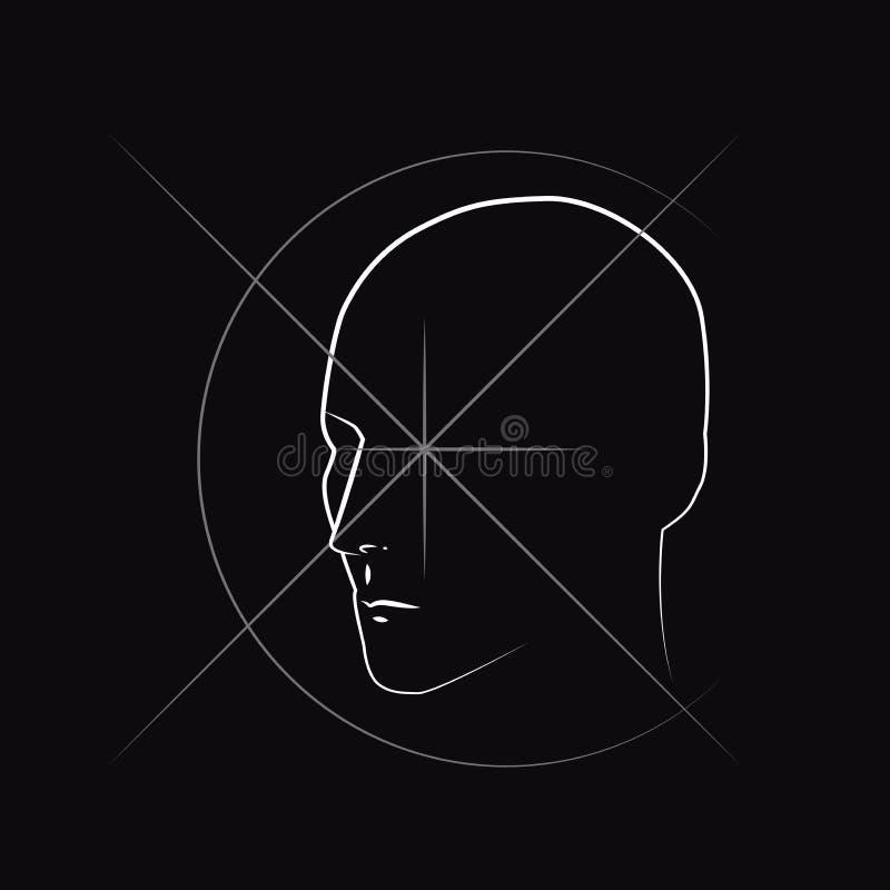 Disegno insolito di un disegno di contorno di una testa illustrazione di stock