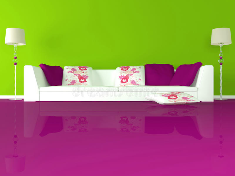 Disegno interno del salone verde moderno illustrazione di for Pavimento interno moderno
