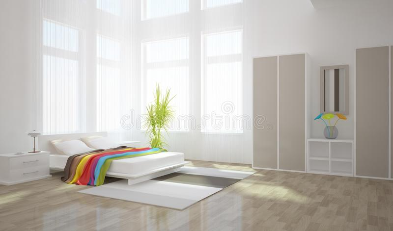 Disegno interno della camera da letto bianca fotografia stock