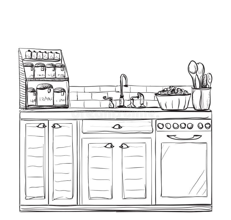 Disegno interno della cucina illustrazione di vettore for Disegno cucina