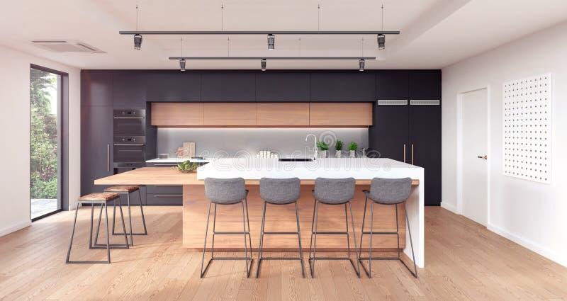 Disegno interno della cucina moderna illustrazione vettoriale