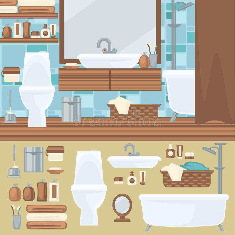 Disegno interno della stanza da bagno Accessori ed insieme della mobilia illustrazione di stock