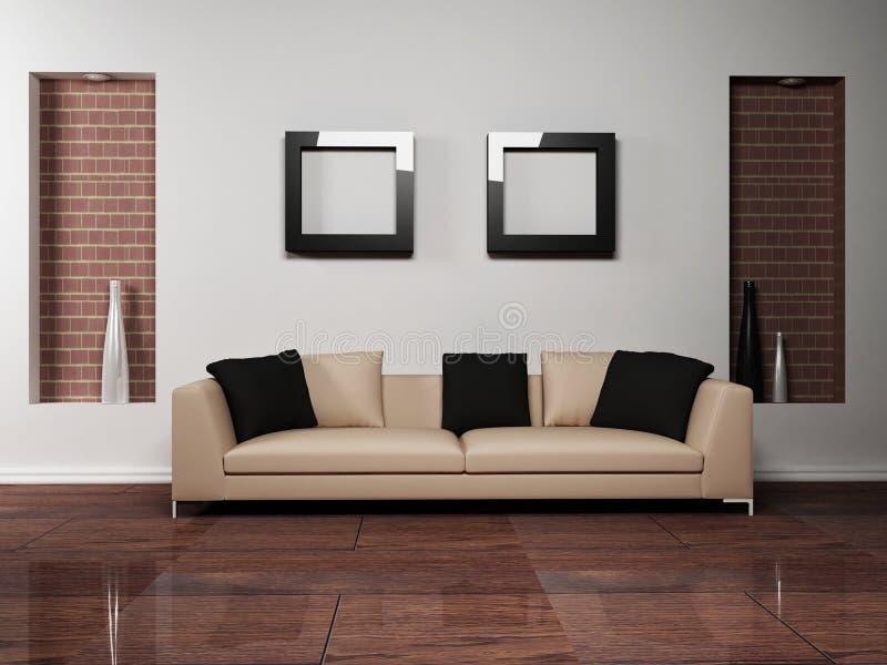 Disegno interno moderno del salone con royalty illustrazione gratis