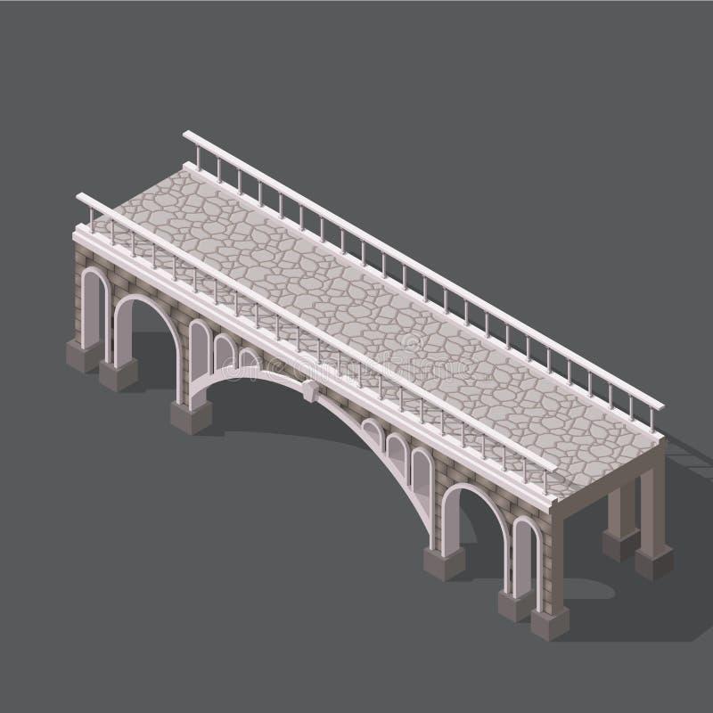 Disegno isometrico di un ponte di pietra illustrazione di stock