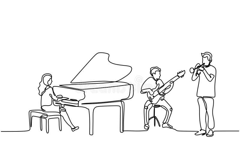 Disegno in linea continuo di musica per orchestra Piano, chitarra e suonatore di clarinetto Singolo concetto di artista musicale royalty illustrazione gratis