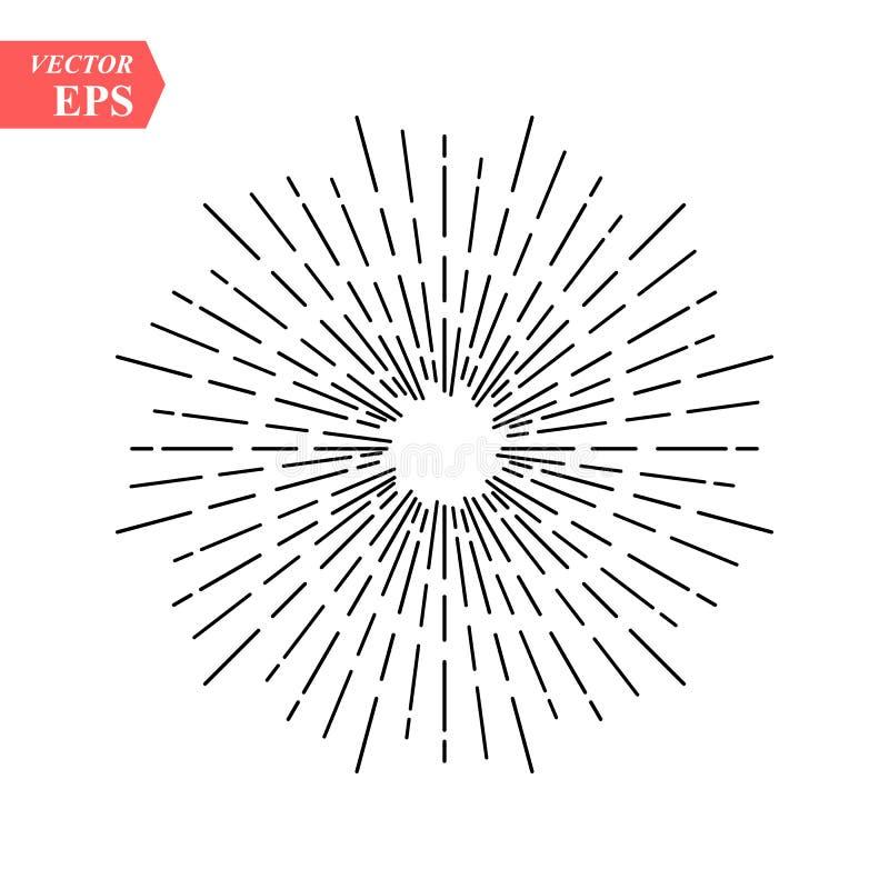 Disegno lineare dei raggi radiali del sole nello stile d'annata isolati su fondo bianco Raggi lineari neri disegnati a mano del s illustrazione vettoriale