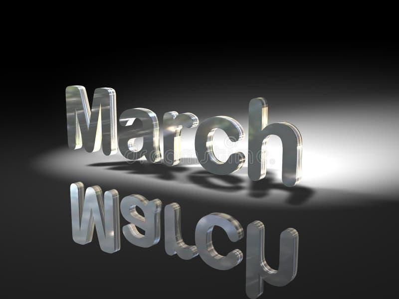 Disegno lucido del testo - marzo illustrazione di stock