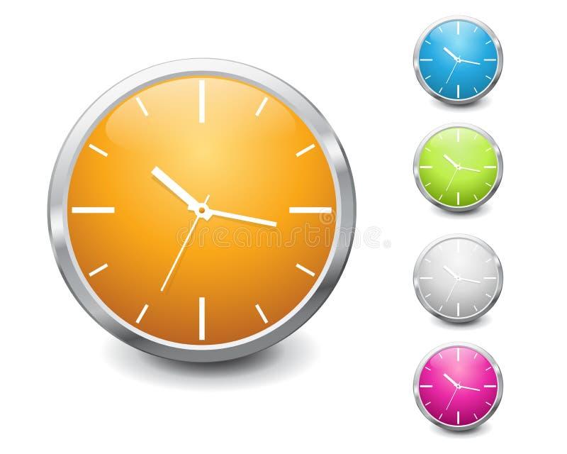 Disegno lucido multicolore dell'icona dell'orologio di vettore royalty illustrazione gratis