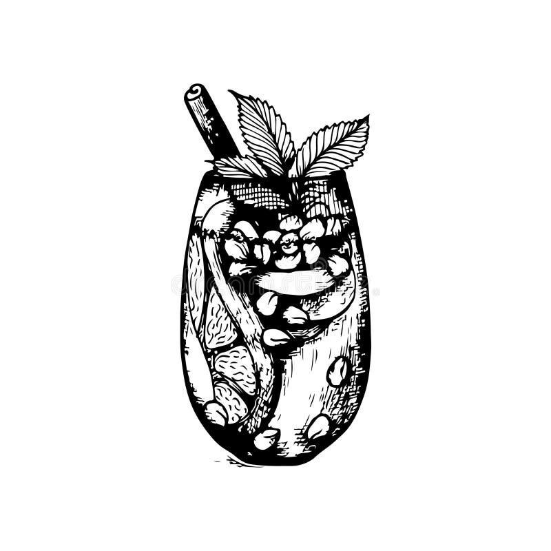 Disegno a mano libera di stile di schizzo della sangria arancio del melograno, del vetro di cocktail, di vari frutti e dell'iscri royalty illustrazione gratis