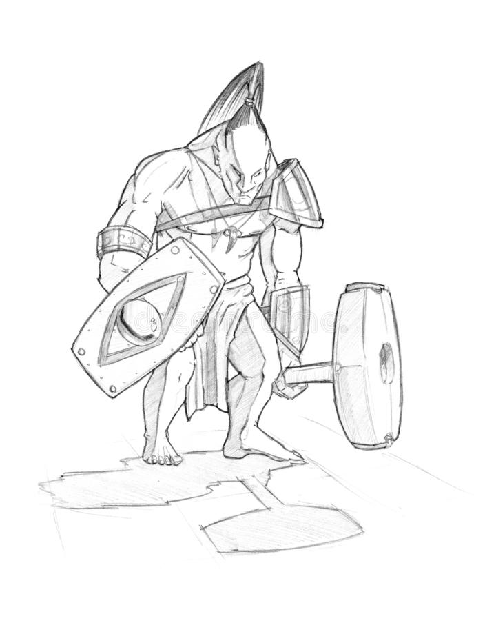Disegno a matita nero del guerriero barbaro indigeno con la mazza e lo schermo illustrazione di stock