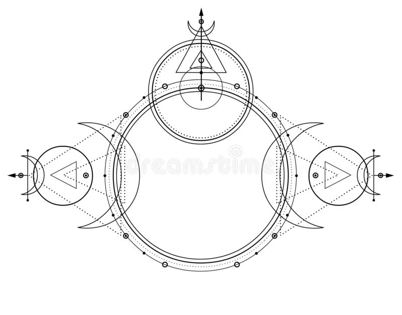 Disegno mistico: cerchi, triangoli, luna, schema di energia illustrazione di stock