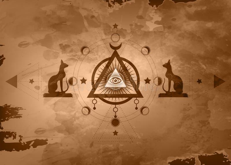 Disegno mistico: il terzo occhio, tutto vedente occhio, cerchio di una fase della luna La geometria sacra e gatti egiziani Bastet illustrazione di stock