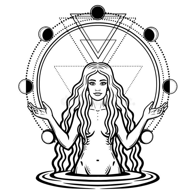 Disegno mistico: la dea femminile con capelli lunghi Fase del cerchio della luna illustrazione vettoriale