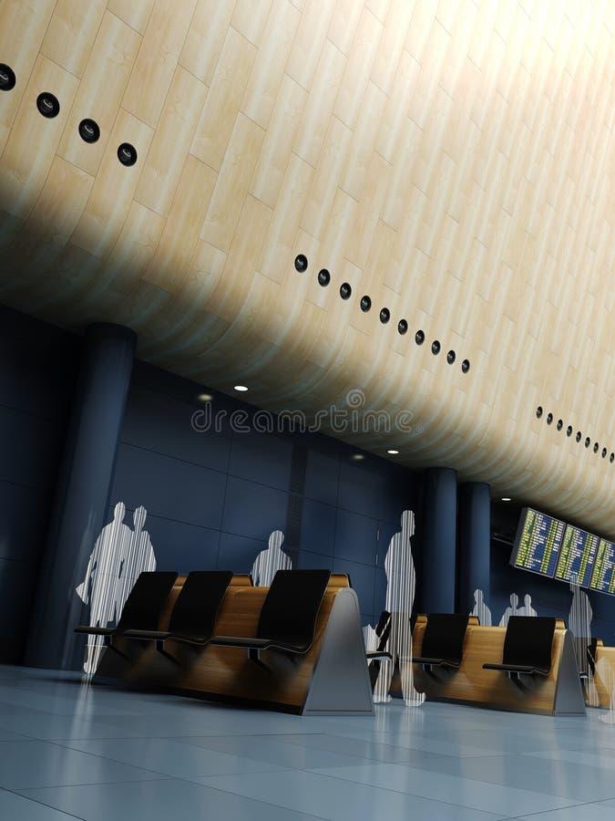 disegno moderno 3d di una stazione dell'aeroporto illustrazione vettoriale